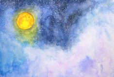 Watercolor galaxy full moon, clouds and stars royalty free illustration