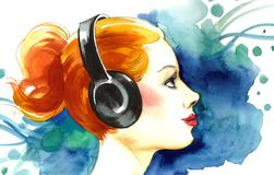 Listening to the music. Watercolor painting of a ginger hair girl in headphones listening to the music Royalty Free Stock Photos