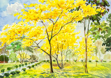 Watercolor painting golden tree flowers in sky and cloud background Stock Images