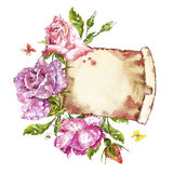 Watercolor painting Greeting cards. Rose background, watercolor composition. Flower backdrop. Isolated illustration on. Watercolor painting Greeting cards. Rose Royalty Free Stock Image
