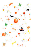 Watercolor Painting Halloween Pattern Royalty Free Stock Photos