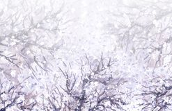 Winter Background  with Snow and Tree Branches. Watercolor painting.  Hand drawn illustration. Winter background with falling snow and tree branches. First Stock Photos