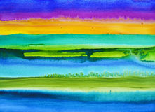 A watercolor painting with horizontal bands of color. A wet-into-wet watercolor painting with horizontal bands of color Stock Image