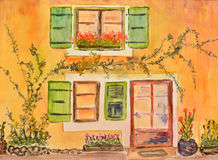 Watercolor painting, house in province Royalty Free Stock Photos