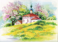 Watercolor painting of house in woods illustration Royalty Free Stock Photo