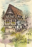 Watercolor painting of house in woods illustration Royalty Free Stock Photos
