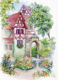 Watercolor painting of house in woods illustration Royalty Free Stock Images