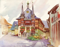 Watercolor painting of house in woods illustration Royalty Free Stock Image