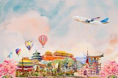 Watercolor painting illustration, landmark of Asia