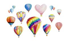 Watercolor painting isolated colorful hot air balloon on white background