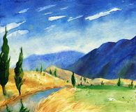 Watercolor painting with italian country landscape. Typical tusc. An hills with cypress and farmland. Hand drawn illustration Stock Photography