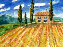 Watercolor painting with italian country landscape. Typical tuscan hills with cypress and farmland. Hand drawn illustration Royalty Free Stock Photo