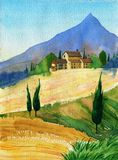 Watercolor painting with italian country landscape. Typical tuscan hills with cypress and farmland. Hand drawn illustration Royalty Free Stock Photos