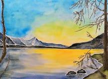 Watercolor painting, lake Royalty Free Stock Photo