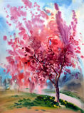 Watercolor painting landscape Stock Images