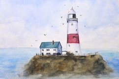 Watercolor painting landscape blue sea lighthouse on island with birds flying in the sky. stock illustration