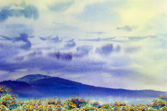 Watercolor painting landscape colorful of daisy flowers yellow. Watercolor painting original landscape colorful of daisy flowers yellow, meadow in blue mountain Stock Image