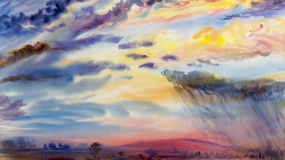 Watercolor painting landscape colorful of rain cloud meadow cornfield. Royalty Free Stock Photos