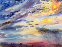 Watercolor painting landscape colorful of rain cloud meadow cornfield. Stock Photos