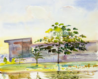 Watercolor painting landscape colorful of reservoir trees garden Stock Photo