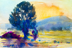 Watercolor painting  landscape colorful of trees meadow field in mountain. Watercolor painting original landscape colorful of trees meadow field in mountain and Stock Image