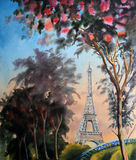 Watercolor painting landscape with eiffel tower Royalty Free Stock Images