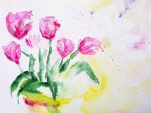 Abstract tulips flower painting background. Artwork. stock illustration