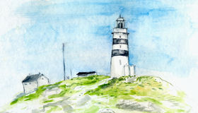 Watercolor painting of landscape with lighthouse and small houses. Scandinavian scenery. Stock Images