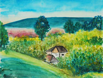 Watercolor painting, landscape Royalty Free Stock Photos