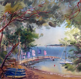 Watercolor Painting Landscape Stock Image