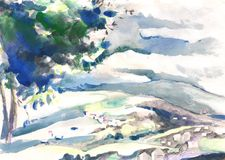 Watercolor painting landscape Stock Photos