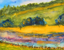 Watercolor painting, landscape Royalty Free Stock Photo