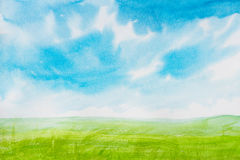 Watercolor painting landscapes. Sky watercolor Royalty Free Stock Photo