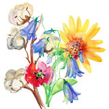 Watercolor painting of leaf and flowers stock illustration