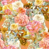 Watercolor painting of leaf and flowers, rose , seamless pattern. Stock Images