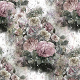 Watercolor painting of leaf and flowers, rose , seamless pattern. Stock Photos