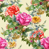 Watercolor painting of leaf and flowers,rose, seamless pattern on Cream Royalty Free Stock Photography