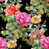 Watercolor painting of leaf and flowers,rose, seamless pattern on dark Royalty Free Stock Photos