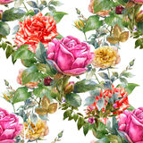 Watercolor painting leaf and flowers,rose, seamless pattern on white background. Watercolor painting of leaf and flowers,rose, seamless pattern on white Royalty Free Stock Image