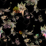 Watercolor painting leaf and flowers, seamless pattern on dark background Royalty Free Stock Photo