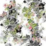 Watercolor painting of leaf and flowers, seamless pattern. On white background Stock Images