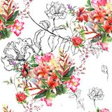 Watercolor painting of leaf and flowers, seamless pattern. On white background Stock Photos