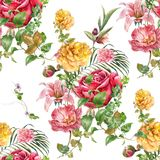 Watercolor painting of leaf and flowers, seamless pattern. On white background vector illustration