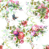 Watercolor painting leaf and flowers, seamless pattern on white backgroun Stock Photo