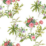 Watercolor painting leaf and flowers, seamless pattern on white backgroun Royalty Free Stock Photo