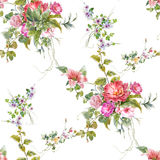 Watercolor painting leaf and flowers, seamless pattern on white backgroun Stock Images