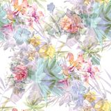 Watercolor painting of leaf and flowers, seamless. Pattern on white background Stock Photo