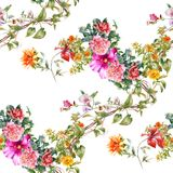 Watercolor painting of leaf and flowers, seamless pattern on white background. Stock Images