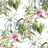 Watercolor painting of leaf and flowers, seamless pattern on white background. Stock Photography