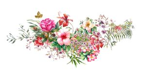 Watercolor painting of leaves and flower, on white. Background royalty free illustration